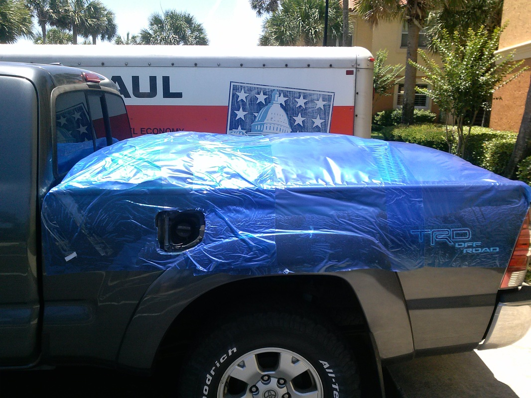 truck bed disposable wrap cover acts as temporary truck cover